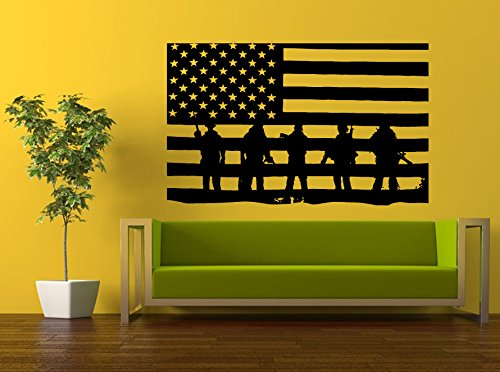 Wall Decal Vinyl Sticker Decals Peal And Stick Cheap Decor Art American Army Navy Marine Military Soldier Troops Salute American Flag L391