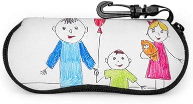 Niños Dibujo infantil Color inocente Estuche de gafas de sol de corazón cálido Estuche de gafas para niños Estuche de neopreno portátil ligero Estuche suave Estuche de gafas de sol para jóvenes: