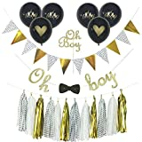 Baby : Baby Shower Decorations for Boy, Oh Boy Cake Topper, Oh Baby Balloons, Oh Boy Banner with Bow Tie, Gold Glitter, Black Glitter, Tassels, Gold and Black Decorations, Polka dots, Complete Set