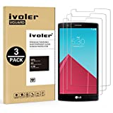 [3 Pack] LG G4 Screen Protector- iVoler Premium Tempered Glass Screen Protector for LG G4 - 0.2mm Ballistics Glass, 2.5D Round Edge, 9H Hardness Featuring Anti-Scratch, Anti-Fingerprint, Bubble Free- Lifetime Replacement Warranty