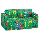 Comfy Kids - Polyester Kids Flip Sofa (Green Animal Print)