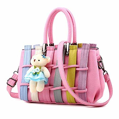 Bovake - Bolso mochila  de Caucho para mujer Rosa