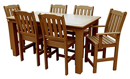 Phat Tommy Outdoor Recycled Poly Highwood Lehigh Rectangle Dining Set (Cedar Looks Dining Chair)