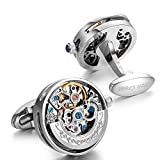 Dich Creat Men's Gold PVD Stainless Steel Open Side Cage Skeleton Automatic Working Movement Cufflinks (Silver, stainless-steel)