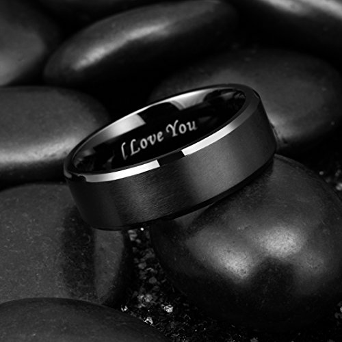 King Will Basic 8mm Stainless Steel Ring Black Plated Matte Finish&Polished Beveled Edge with Laser Etched I Love You(9.5) by King Will (Image #5)'