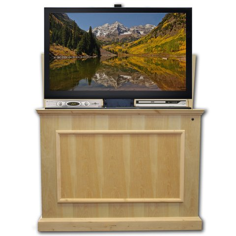 "(Touchstone 72012 - Elevate TV Lift Cabinet - TVs Up To 50 Inch Diagonal (45"" Wide TV) - Unfinished - 50 In Wide - Quiet & Quick Whisper Lift II TV Lift – Wired & Wireless RF Remote)"
