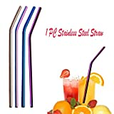 Swyss 1 PC 6mm Diameter Stainless Steel Straws,Replacement Reusable Metal Drinking Straws Washable (Multicolor, Bent 21.5cm)