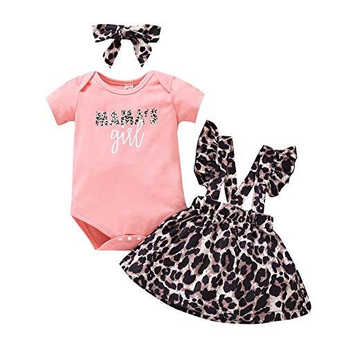 puseky 0-18M Pasgeboren Baby Meisjes Bloemen Ruffle Romper+Jarretel Rok+Hoofdband Outfits Set, roze, 12-18 Maanden