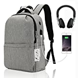 Slim Laptop Backpack, Winblo Business Bags with USB Charging Port and Headphone Port Anti-theft School Book Bag for College Travel Daypack for 15.6 inch Laptop Notebook