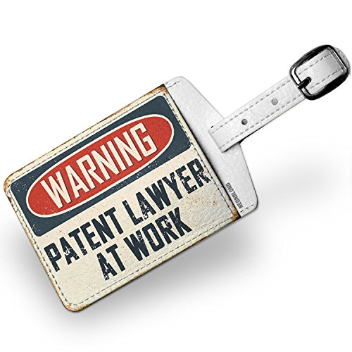 Luggage Tag Warning Patent Lawyer At Work Vintage Fun Job Sign - - Luggage Patent Tag