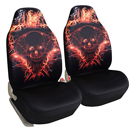Leader Accessories Pair of Skulls Design Car Front Seat Covers Universal Bucket Seat Protector for Cars Truck SUV Airbag Compatible Black Skull Car Seat Cover