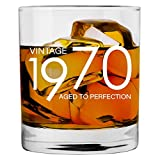 1970 50th Birthday Gifts for Men Women - 11 oz Whiskey Bourbon Lowball Glass - Funny Vintage 50 Year Old Gift Present Ideas for Him Dad Husband - Anniversary Christmas Whisky Glasses Party Decorations