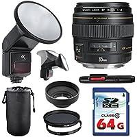 Canon EF 85mm f/1.8 USM Lens Bundle + Commander UV Filter + Polarizer Filter + 2 In 1 Lens Cleaning Pen + High Speed 64GB Memory Card + Rubber Hood + Manual Flip Flash + Deluxe Lens Case