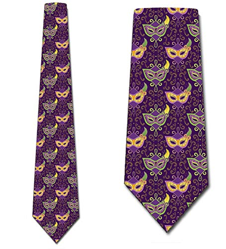 Mardi Gras Ties Mens Elegant Mask Holiday Necktie by Three Rooker]()