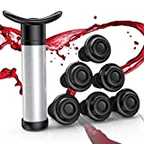 Wine Saver, Wine Stoppers Set, Wine Vacuum Pump with 6 Valve Air Bottle Stoppers, Wine Preserver Tool for Prevent Wine Oxidation, Keep Wine Fresh