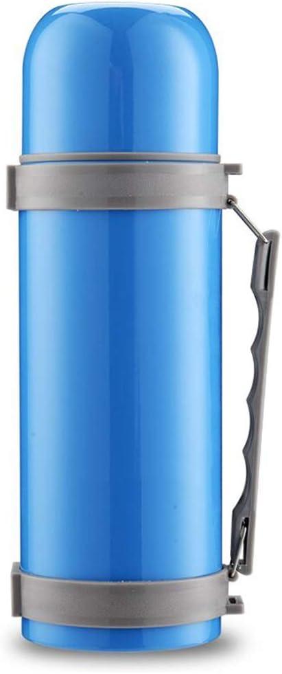 RENRUIRUI- Borraccia in Acciaio Inossidabile con Doppio Vuoto isolata Borraccia Isolante Portatile di Grande capacità Anti-perdite Escursioni Sportive (Color : Blue) Blue