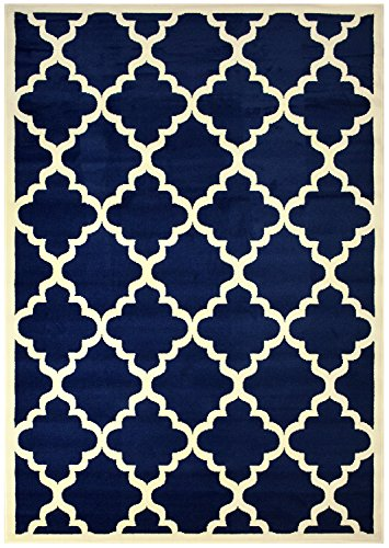 Modela Collection Trellis Modern Area Rug Rugs (Navy Blue, 7'9