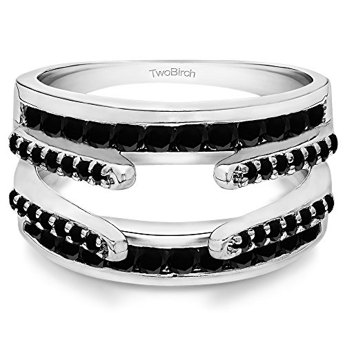 TwoBirch 0.49 ct. Black Cubic Zirconia Combination Cathedral and Classic Ring Guard in Sterling Silver (1/2 ct. twt.)