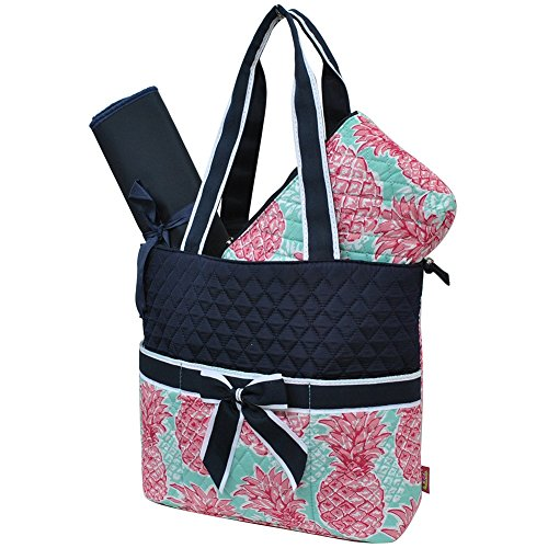 Southern Summer Pineapple NGIL Quilted 3pc Diaper Bag