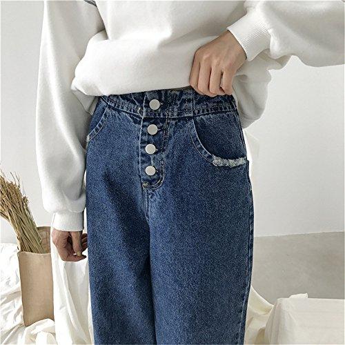 JOTHIN 2017 Donna Inverno 4 Pulsanti Tinta Unita Vita alta Jeans Casual Larghi Straight Harem Pantaloni Eleganti con Pinces Fasciante Flare Calzoni.