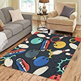 Semtomn Area Rug 2' X 3' Pattern Bowling Color Doodle on Ball Pins and Shoes for Black Home Decor Collection Floor Rugs Carpet for Living Room Bedroom Dining Room