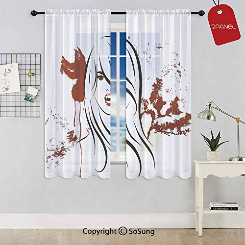 (Face of Sexy Vampire Lady with Long Hair Red Lips Blood Stain Dangerous Grunge Decorative Rod Pocket Sheer Voile Window Curtain Panels for Kids Room,Kitchen,Living Room & Bedroom,2 Panels,Each 42x54 I)