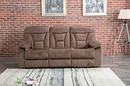- CANMOV Reclining Sofa, Microfiber Fabric Living Room Chair, Manual Recliner Sofa (3 Seater) with Padded Headrest and Back, Chocolate