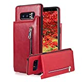 For Samsung Galaxy Note 8 Pocket Case, Aearl TPU Bumper Shell Back Magnetic Button PU Leather Cover Zipper Wallet Purse Card Holder and Photo Frame Slot Kickstand Case for Samsung Galaxy Note 8 - Red