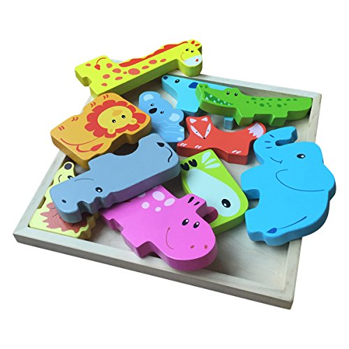 Wooden Puzzle for Kids 3 Years & Older - Fun Animal Kingdom Theme - Easy to Grab Colorful Chunky Puzzle Pieces by Portland Puzzle Co.