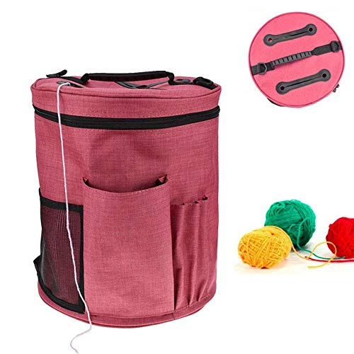 Yarn Storage Bag, Knitting Organizer Tote for Protect Yarn and Prevent Tangling Crochet Accessories with Adjustable Strap (Large)