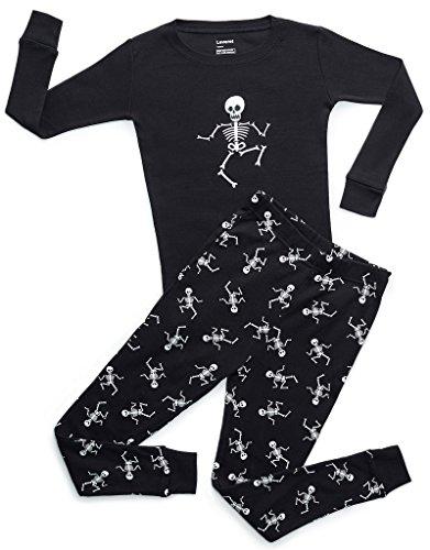 Boys Skeleton Pyjamas (Leveret Black Skeleton 2 Piece Pajama 14)