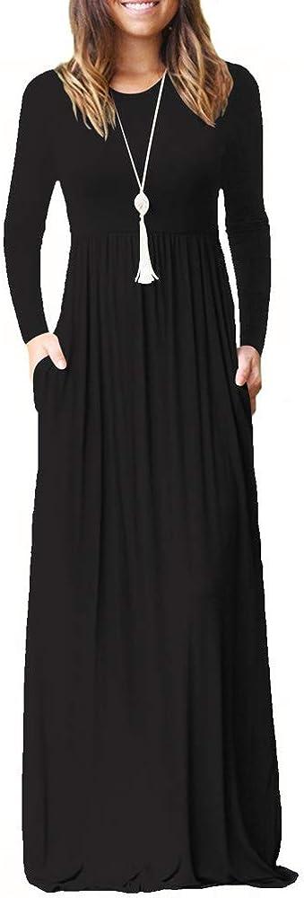 TALLA S. ZHANGNA Mujer Sexy Manga Larga Casual Maxi Vestido con Bolsillo Negro