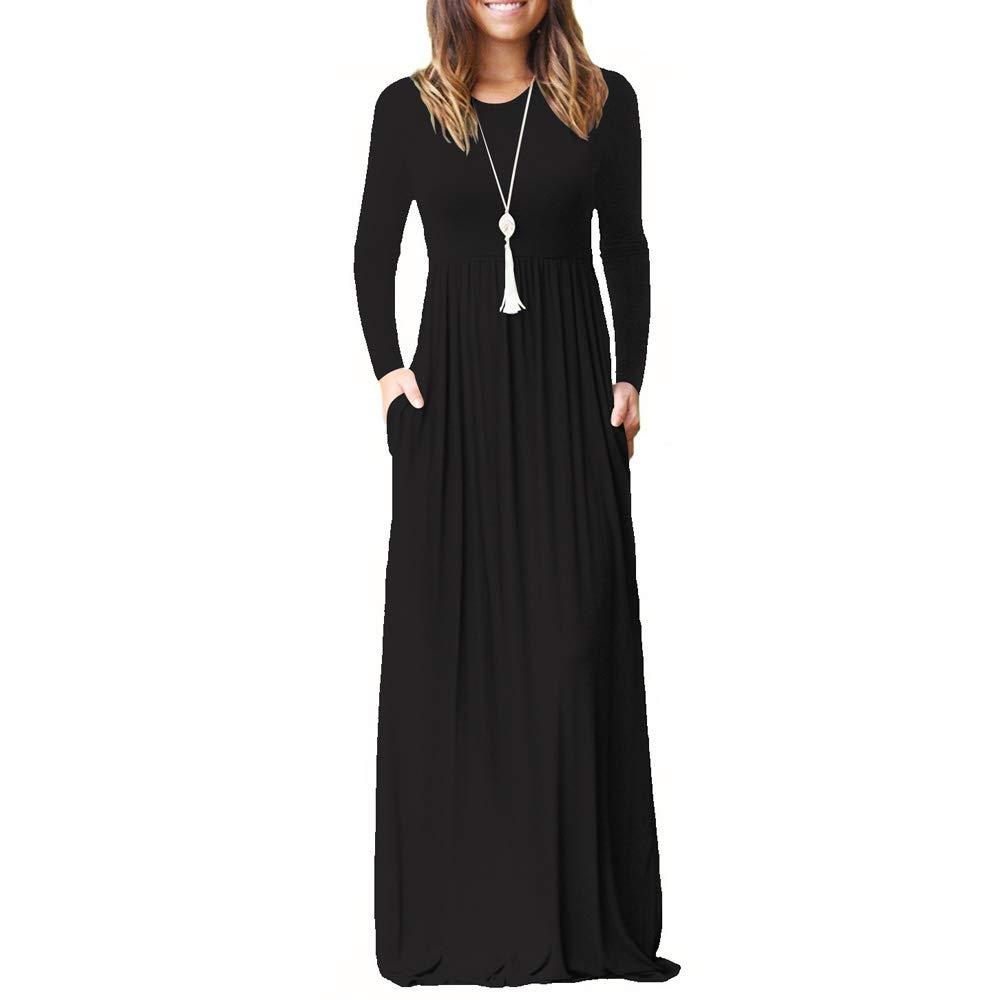 TALLA M. ZHANGNA Mujer Sexy Manga Larga Casual Maxi Vestido con Bolsillo Negro