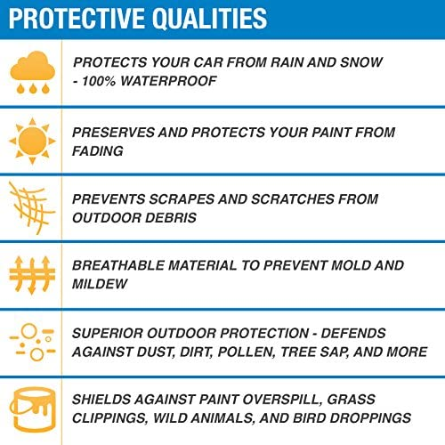 """14/'2/"""" Universal Fit Outdoor Waterproof Heatproof Full Car Cover Up To 170/"""" MX"""