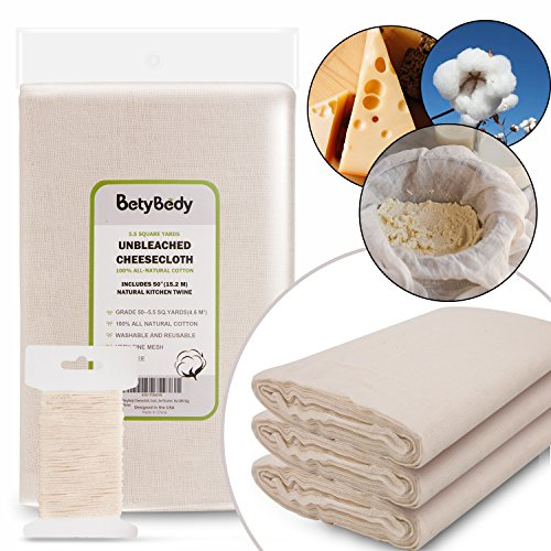 BetyBedy Cheesecloth, Grade 50 (5.5 Yards/49.5 Sq. Feet) Unbleached Cotton Fabric with 50 Feet Cooking Twine, Washable and Reusable Strainer for Cheesemaking, Food Filter/Strainer, Nut Milk Bag -