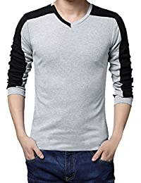 Allegra K Men V Neck Long Sleeves Color Block Casual T-Shirt