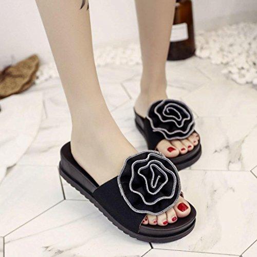 LHWY Sandalen Damen Sommer Flach Frauen Mädchen Casual Fashion Vintage Hausschuhe Strand Floral Plattform Sandalen Frauen Dicksohlen High Heels Schuhe Schwarz