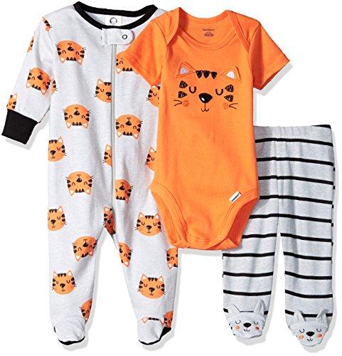 Gerber Baby Boys' 4-Piece Sleep 'N Play, Onesies, Pant and Cap, Tiger, 3-6 Months