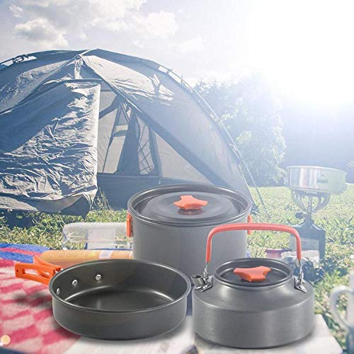 Camping cookware set Outdoor Pots Pans Cooking Set Non-stick Tableware with Stove Spoon Fork Knife Kettle Camping Cookware Picnic