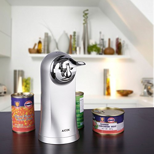 Electric Can Opener with Bottle Opener Sharpener, for All Standard Smooth Edge Can Opener, Chrome