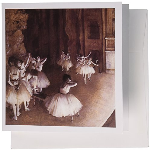 3dRose Ballet Rehearsal on the Stage by Edgar Degas - Greeting Cards, 6 x 6 inches, set of 6 (gc_126968_1)