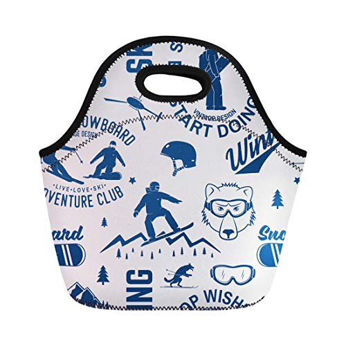 Semtomn Neoprene Lunch Tote Bag Ski and Snowboard Club for Stamp Badge Tee Vintage Reusable Cooler Bags Insulated Thermal Picnic Handbag for Travel,School,Outdoors,Work - Explorer Snowboard Bag