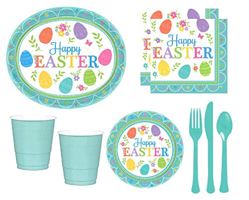 Happy Easter Party Supplies Pack DELUXE for 16 Guests Including Large Easter Plates, Dessert Plates, Napkins, Cups & Cutlery