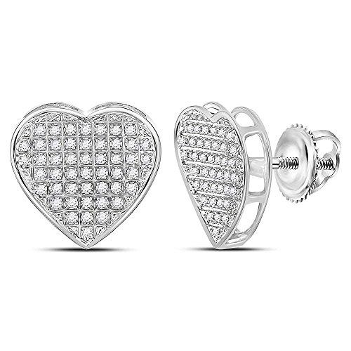 Pave Diamond Heart Earrings (Sterling Silver Womens Round Diamond Heart Stud Earrings 1/3 Cttw (I2-I3 clarity; J-K color))