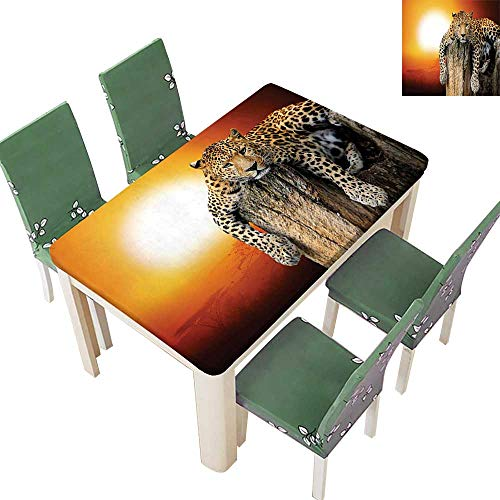 Printsonne Polyester Tablecloth Table Cover Sitting Dry Tree at Danger in The Air Big Cat Spotted for Dining Room 54 x 72 Inch (Elastic ()