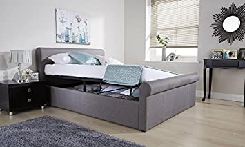 Strange Right Deals Uk Side Lift Ottoman Sleigh Bed Hopsack Fabric Bronze Silver Double Kingsize Silver Grey 4Ft6 Double Pdpeps Interior Chair Design Pdpepsorg