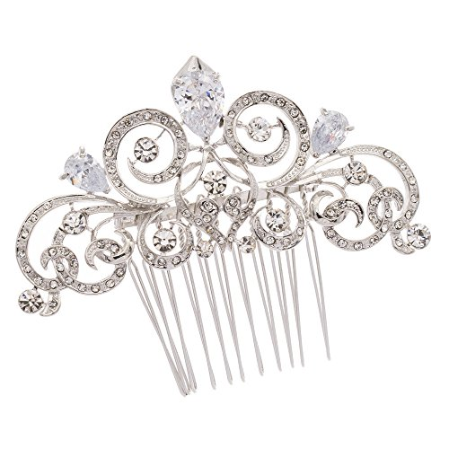 Pin Curl Flapper Red Wig (PROHAIR Silver Zircon Women Hairpins Rhinestone Crystal Hair Comb Bridal Wedding Hair Accessories)