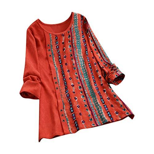 Lutos Women O-Neck Plus Size Vintage Corduroy Shirts Ethnic Print Patchwork Tops Loose Blouse Tunic=