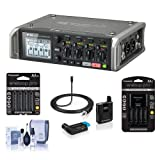 Zoom F4 Multitrack Field Recorder with Timecode - Bundle With Sennheiser AVX-ME 2 Camera Mountable Lavalier Wireless Set, 8x AA Ni-MH Batteries With Charger, Microfiber Cloth