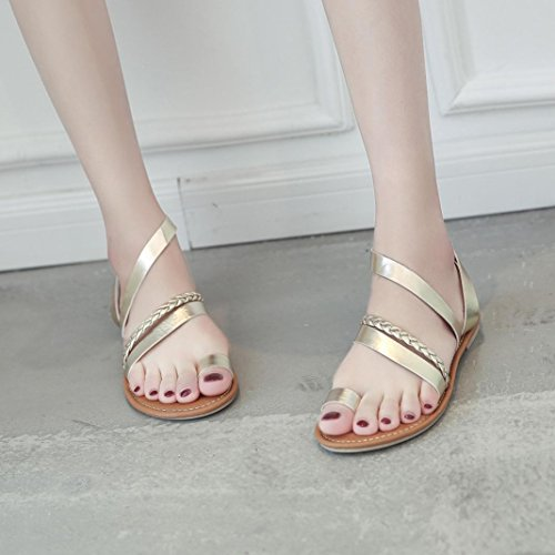 Women Flats Sandals Low Heel Beach Shoes Slippers Strappy Gladiator Flip Flops Sandals (US:8, Gold)
